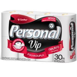 Papel higiênico Personal Vip neutro 30 metros 8 unidades