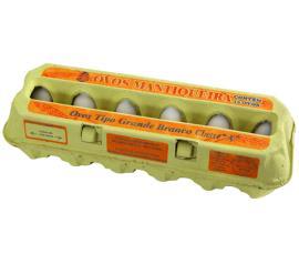 Ovos Mantiqueira branco tipo grande com 12 unidades