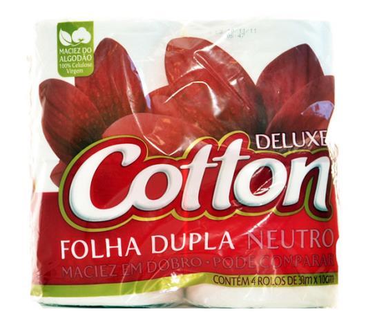 Papel higiênico neutro e folha dupla Cotton 30m 4 unidades - Imagem em destaque