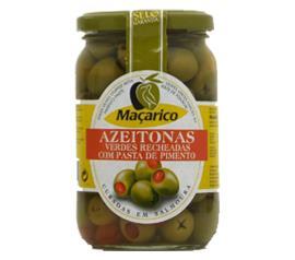 Azeitona Maçarico verde recheada com pimenta 200g