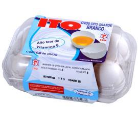 Ovo Ito branco grande ômega 3 vitamina E com 6 unidades
