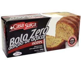 Bolo Casa Suíça zero adição de açúcar sabor nozes 280g