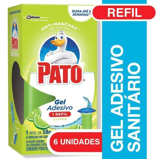 Desodorizador Sanitário Pato Gel Adesivo Refil Citrus 6 unidades - Imagem em destaque