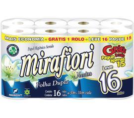 Papel higiênico Mirafiori folha dupla neutro 30m leve 16 pague 15