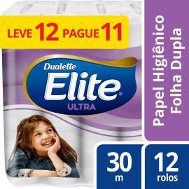 Papel higiênico Elite Dualette Ultra Folha Dupla  30 metros - Leve 12 Pague 11