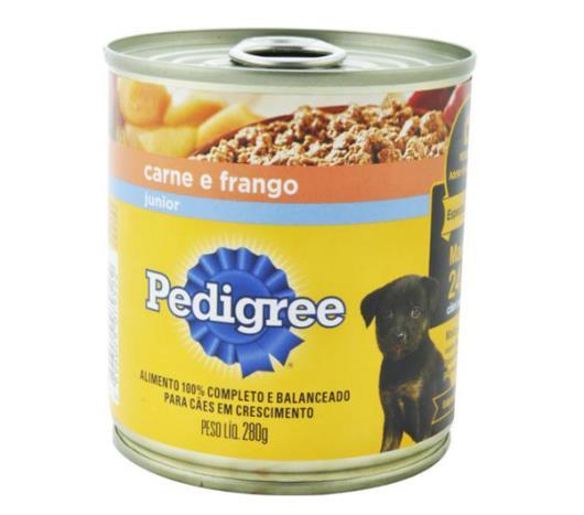 Alimento para cães Pedigree junior sabor carne com frango lata 280g - Imagem em destaque