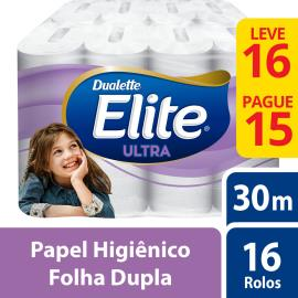 Papel higiênico Elite Dualette Ultra Folha Dupla 30 metros Leve 16 Pague 15