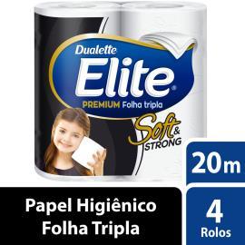 Papel higiênico Elite Dualette premium folha tripla 20 metros 4 unidades