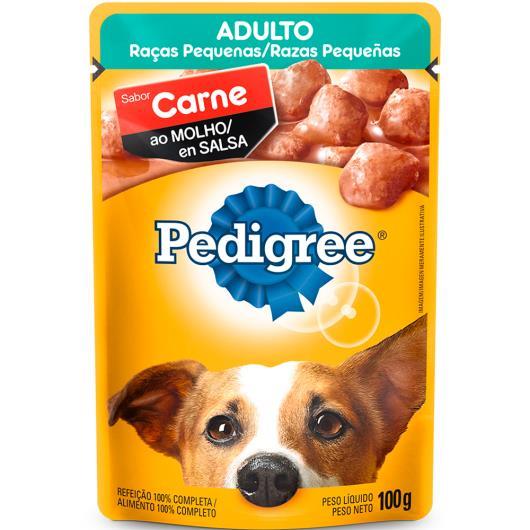 Alimento para cães Pedigree adulto/ raças pequenas carne e molho sachê 100g - Imagem em destaque