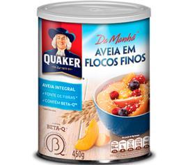 Aveia Quaker em flocos finos lata 450g