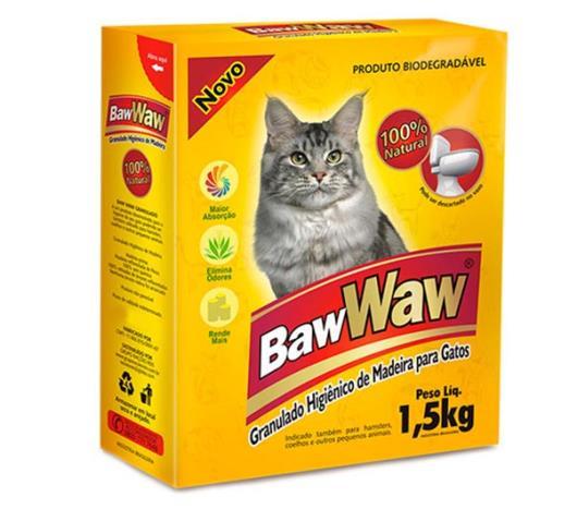 Granulado higiênico de madeira para gatos Baw Waw 1,5kg - Imagem em destaque