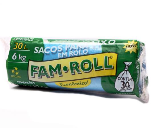 Saco Lixo Fam Roll Azul 30 Litros - Imagem em destaque
