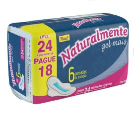 Absorvente Naturalmente gel mais com abas leve 24 pague 18