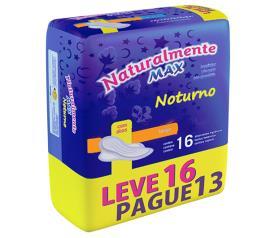 Absorvente Naturalmente max noturno com abas leve 16 pague 13