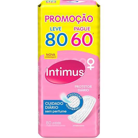 Protetor Diário INTIMUS Cuidado Diário s/ Perfume - 80 unidades - Imagem em destaque