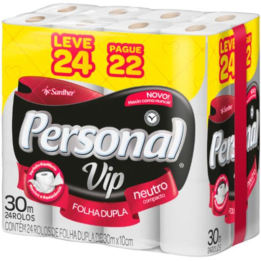 Papel higiênico Personal Vip folha dupla neutro 30m Leve 24 e Pague 22 - Imagem em destaque