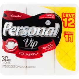 Papel Higiênico Personal Vip folha dupla Neutro 30m Leve 12 e Pague 11