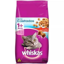 Alimento para gatos castrados Whiskas sabor carne 3Kg