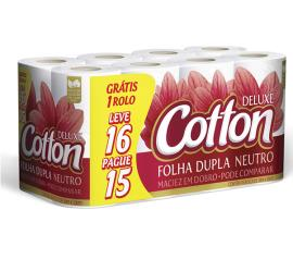 Papel higiênico Cotton deluxe neutro folha dupla 30 metros  Leve 16 Pague 15