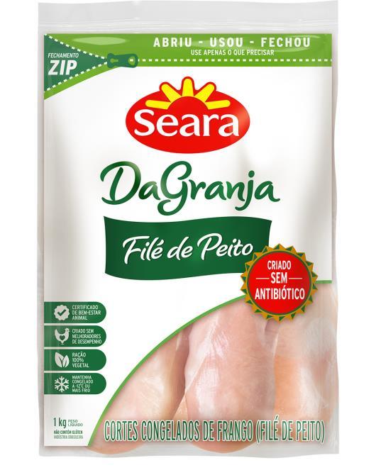 Filé de peito de frango Da Granja Seara Congelado 1kg - Imagem em destaque