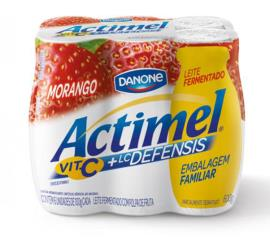 Leite Actimel fermentado morango 6x100g