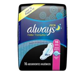 Absorvente Always Active Noturno seco com abas Leve 16 Pague 14