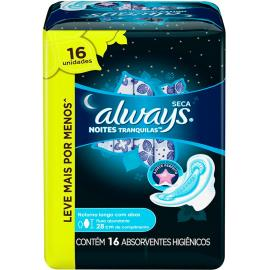Absorvente Always Pink Moon suave noturno abas Leve 16 Pague 14