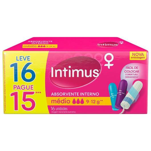 Absorvente Interno INTIMUS MÉDIO Leve 16 Pague 15 - 16 unidades - Imagem em destaque