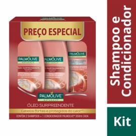 2 Shampoos + 1 Condicionador Palmolive Natural óleo surpreendente Preço Especial 350ml cada
