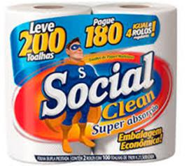 Papel Toalha Social Clean Leve 200 Toalhas Pague 180