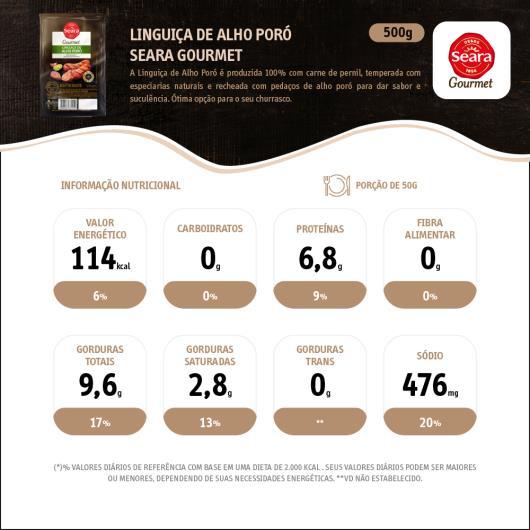 Linguiça Seara Gourmet Pernil com Alho Poró 500G - Imagem em destaque