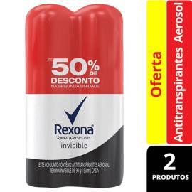 2 Desodorantes Rexona Woman Aerossol Invisible 50% Desconto na segunda unidade 180g