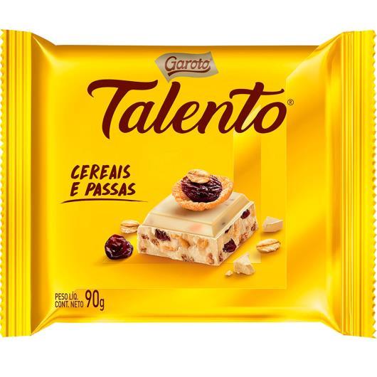 Chocolate GAROTO TALENTO Branco com Cereais e Passas 90g - Imagem em destaque