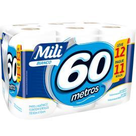 Papel Higiênico Bianco Mili 60m Leve 12 Pague 11 rolos
