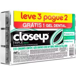 Gel dental Closeup Triple Menta 70 g Leve 3 Pague 2