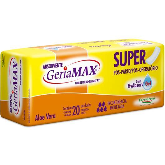 ABSORVENTE GERIAMAX SUPER ALOE VERA 20 unidades - Imagem em destaque