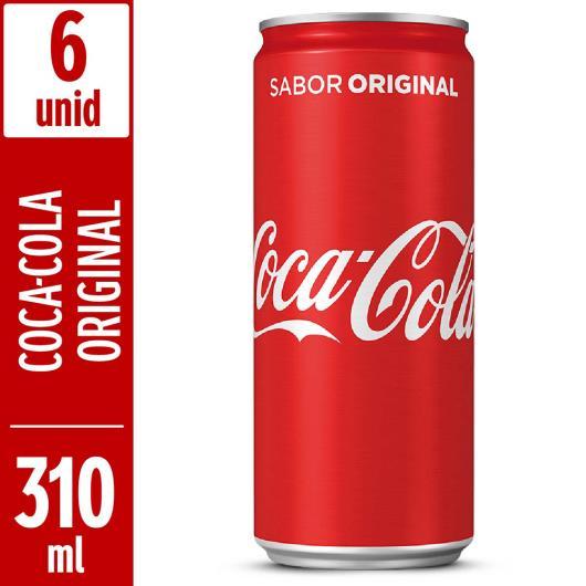 Refrigerante Coca Cola tradicional lata 310 ml c/ 6 unidades - Imagem em destaque