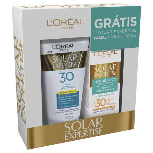 Protetor solar L'Oréal Expertise FPS 30 120ml grátis protetor facial 50ml - Imagem em destaque