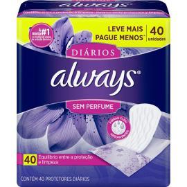 Protetor diário leve mais pague menos sem perfume Always 40 unids.
