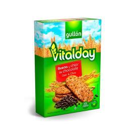 Biscoito Cereais Integrais Recheio de creme de avelã e gotas de chocolate meio amargo Vitalday Gullon 220g