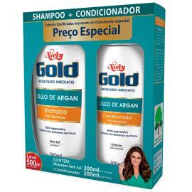 Shampoo 300ml + Condicionador 200ml óleo de argan Niely Gold unidade