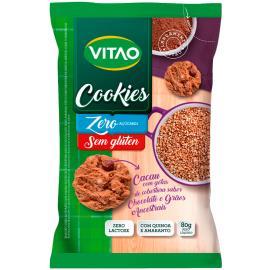 Cookies zero açúcar sem glúten cacau com gotas de cobertura chocolate e grãos ancestrais Vitao 80g