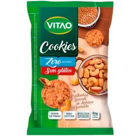 Cookies zero açúcar sem glúten castanhas semente de linhaça dourada Vitao 80g