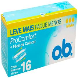 Absorvente OB Interno ProComfort Médio Leve + Pague - 16 unids.