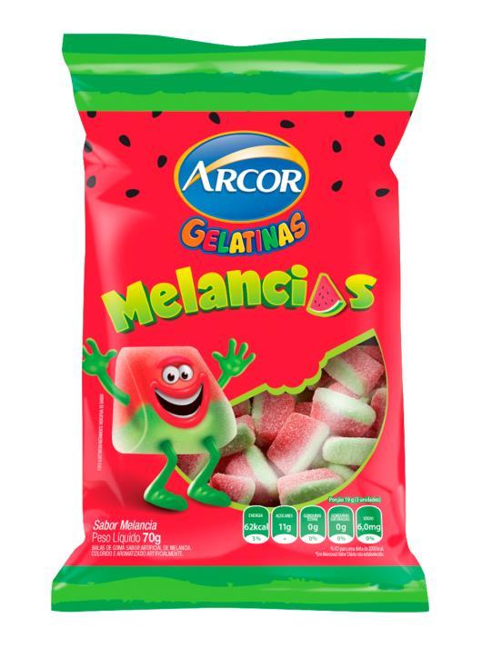 Bala gelatinas melancias Arcor 70g - Imagem em destaque