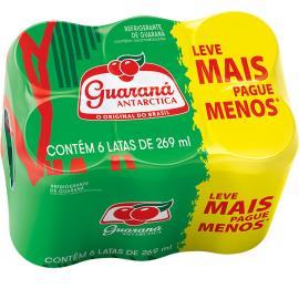 Refrigerante Antárctica Guaraná lata 6 unidades de 269ml cada