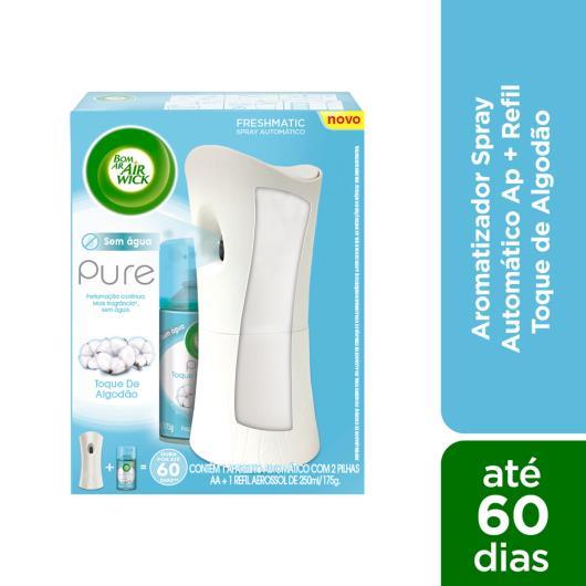 Bom Ar Air Wick Pure Aromatizador Spray Automático Freshmatic Aparelho + Refil Toque de Algodão 250ml - Imagem em destaque