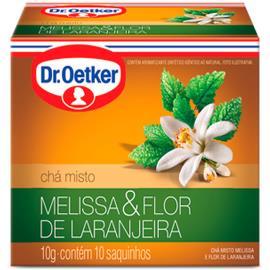 Chá melissa e flor de laranjeira Oetker sachês 10g