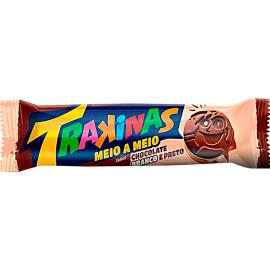 Biscoito recheado Trakinas meio a meio Chocolate branco e preto 126g