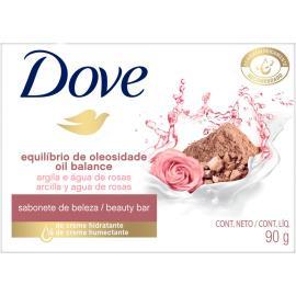Sabonete em barra equilíbrio de oleosidade argila e água de rosas Dove 90g